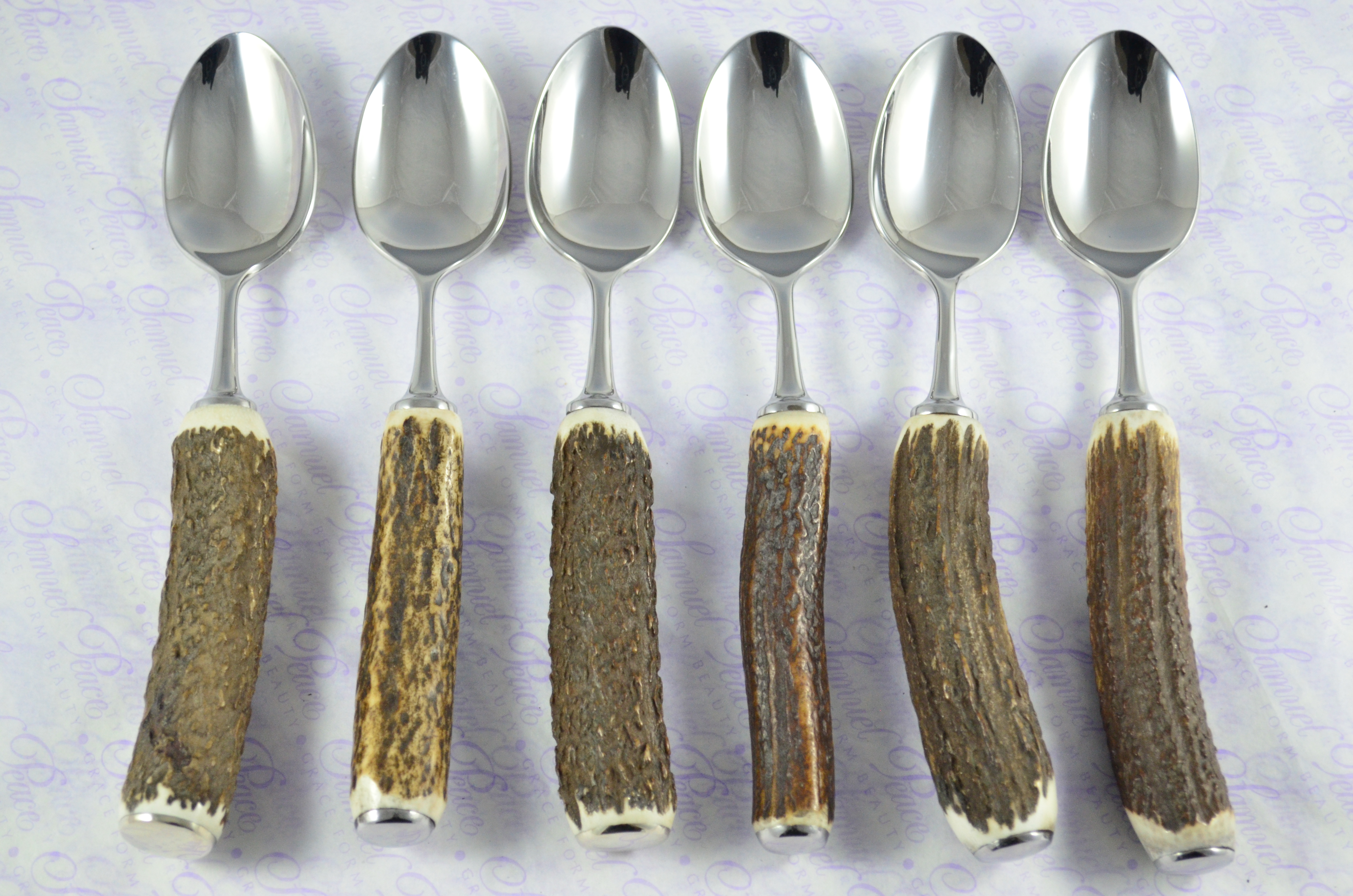 Six 6 Genuine Stag//Antler Handle Tea Spoons Boxed Made In Sheffield England
